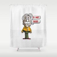 einstein Shower Curtains featuring Relatively Einstein by Peter Gross