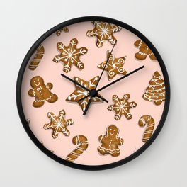 Gingerbread men and Christmas cookies collection Wall Clock