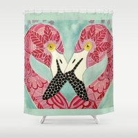 flamingos Shower Curtains featuring Flamingos  by ArtLovePassion