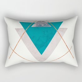 TEAL COPPER AND BLUSH GEOMETRIC Rectangular Pillow