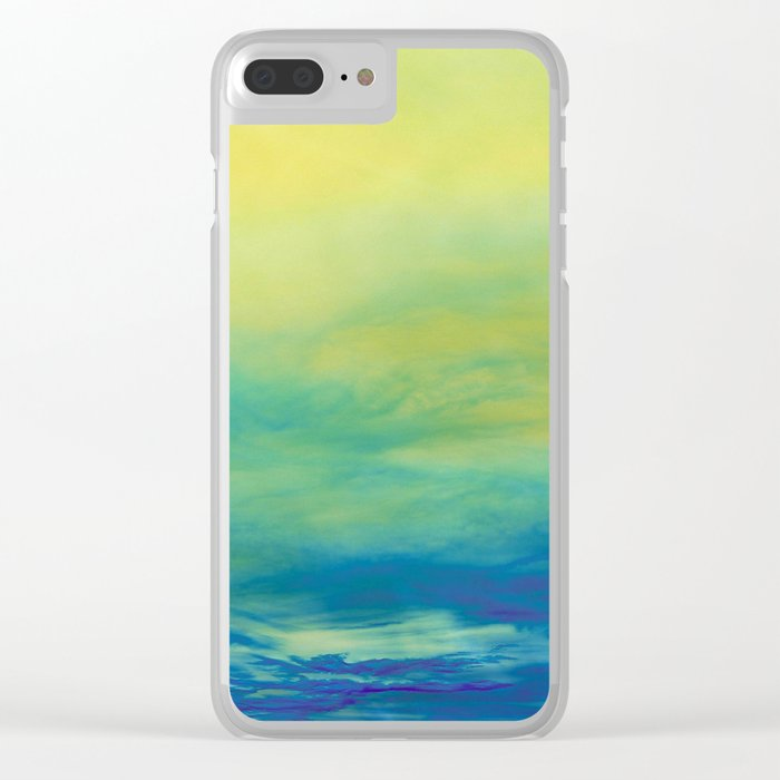 YELLOW & BLUE TOUCHING #1 #abstract #art #society6 Clear iPhone Case