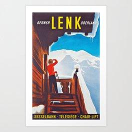 Lenk Berner Oberland - Vintage Ski Poster Art Print