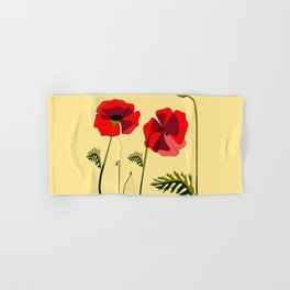 Adorable Red Poppies Unfold Hand & Bath Towel