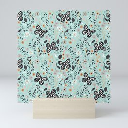 Flowers and butterflies pattern 002 Mini Art Print
