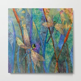 Colorful Dragonflies Metal Print