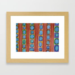 Blue Circles Within Red Stripes Framed Art Print