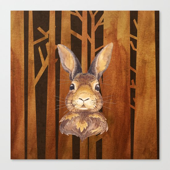 Rabbit in the forest- abstract animal hare watercolor illustration Canvas Print
