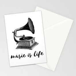 music is life - vintage gramaphone Stationery Cards