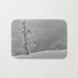 Solitary Snowy Tree in Black and White - Landscape Photography Bath Mat