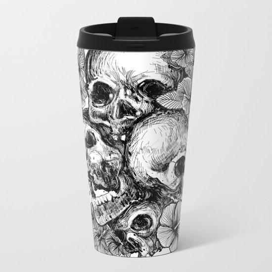 skulls&hibiscus Metal Travel Mug