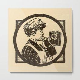 Lady at phone. Metal Print