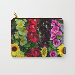 ENGLISH HOLLYHOCKS & SUNFLOWER GARDEN Carry-All Pouch