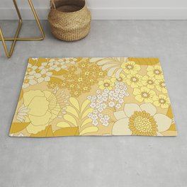 Yellow, Ivory & Brown Retro Floral Pattern Rug