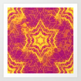 Vibrant yellow and magenta star mandala Art Print