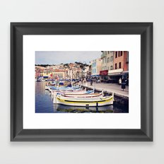 Boats in Cassis Harbor Framed Art Print