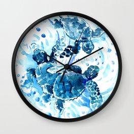 Three Sea Turtles, blue bathroom turtle artwork, Underwater Wall Clock