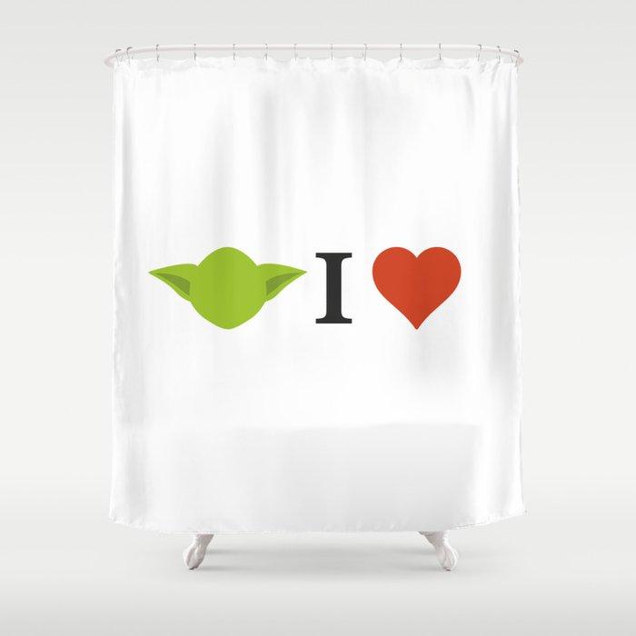 Yoda I Love Shower Curtain By Burgernator