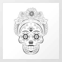 Traditional Female Mexican Skull Art Print