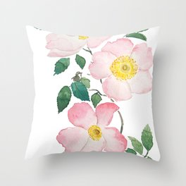 pink rosa rubiginosa watercolor Throw Pillow