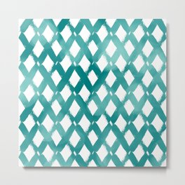 Diamond Cross Pattern Modern Aqua and White Metal Print