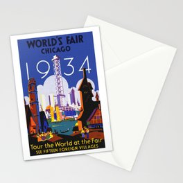 1934 Chicago World's Fair Travel Poster Stationery Cards