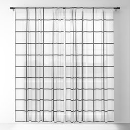Grid Pattern Black and White Sheer Curtain