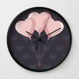 Balloon Hearts Wall Clock