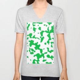 Large Spots - White and Dark Pastel Green Unisex V-Neck