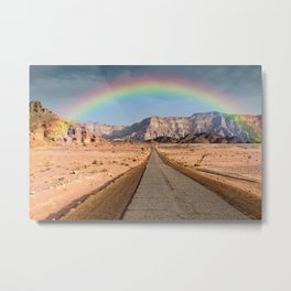 rainbow over hte negev desert in israel Metal Print