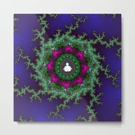 Fractal Christmas Wreath Metal Print