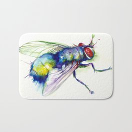 Green Fly Original Watercolor Bath Mat