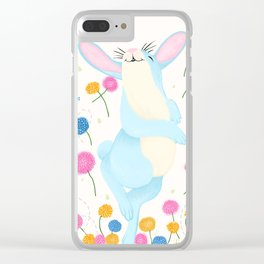 Bouncing Baby Blue Bunny Clear iPhone Case