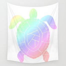 Turtle - Pastel Rainbow Wall Tapestry