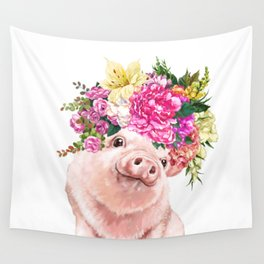 Flower Crown Baby Pig Wall Tapestry