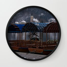 Pletna Boats At Bled Lake Wall Clock