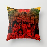 rave Throw Pillows featuring Jungle Rave by Von Grey