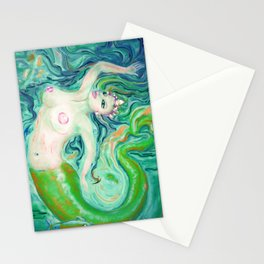 PAINTING Art Print by  Anna saucier goddess nude mermaid under water swimming , Stationery Cards