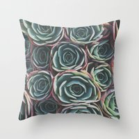 succulents Throw Pillows featuring SUCCULENTS by The Pixel Gypsy