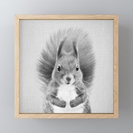 Squirrel 2 - Black & White Framed Mini Art Print