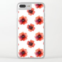 Meadow Red Poppies Clear iPhone Case