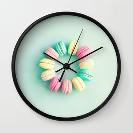 Macarons, macaroons circle, pop art Wall Clock