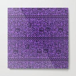 Purple Tudor Gardens Damask Metal Print