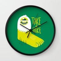 bigfoot Wall Clocks featuring Advice Bigfoot by Morkki