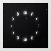 moon phases Canvas Prints featuring Moon Phases by KittyBitty