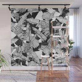 Modern Black and White Tropical Banana Leaves Wall Mural