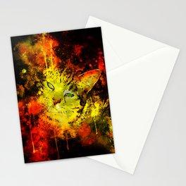 evil cat splatter watercolor Stationery Cards