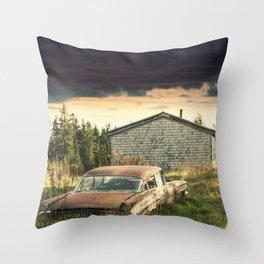 Backyard Sedan Throw Pillow