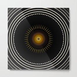 Modern Circular Abstract with Gold Mandala Metal Print