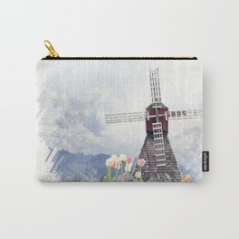 Digital Painting of windmill and tulips Carry-All Pouch