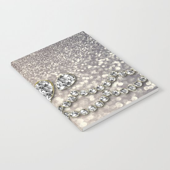 Diamonds and sparkles I- Silver elegant glitter design Notebook